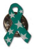 Bild vom Pin - grüne Schleife mit weissen Sternen